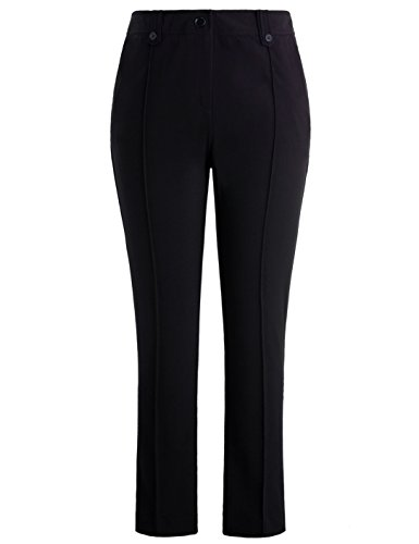 Chicwe Women's Stretch Straight Leg Plus Size Pants With Double Tabs Waistband Black, 18 (Straight Tab Leg)