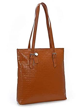 SECURE RFID Waffel Ladies Zip Top Tote Bag LB68 BROWN
