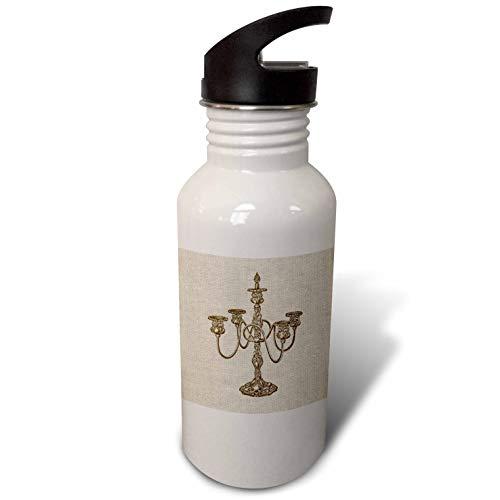 3dRose Russ Billington Designs - Image of Vintage Victorian Candlestick- not linen cloth - Flip Straw 21oz Water Bottle (wb_287491_2)