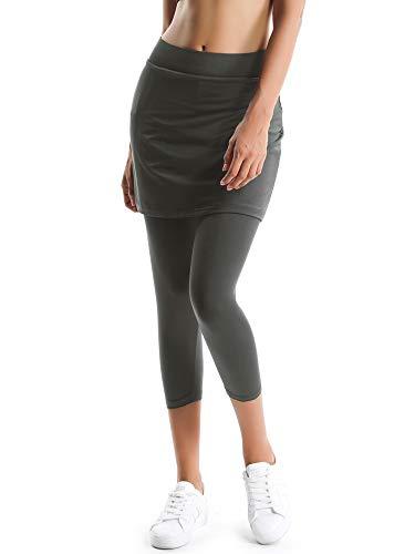 Gooket Women's Sports Skirted Capri Leggings Yoga Skirts with Spandex Tights Athletic Tennis Gym Active Running Skort Gray Size S