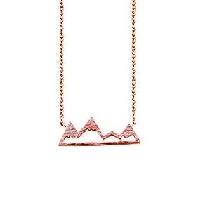 Rose Gold Mountain Top Snowy Mountain Top Necklace Mountain Peak Pendant
