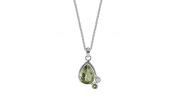 Irish Countryside Stepping Stones 8 Ct Green Tourmaline Sterling Silver Pendant Necklace Forest Green Verdelite Chunky FREE SHIPPING