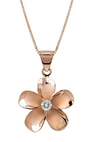 Honolulu Jewelry Company 14k Rose Gold Plated Sterling Silver Plumeria CZ Necklace Pendant with 18