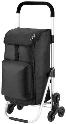 Cruiser Einkaufswagen Treppensteiger 49+4 Liter - Einkaufstrolley 2 x 3 räder mit Kuhlfacher schwarz