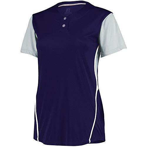 (Augusta Sportswear Ladies Performance Two-Button Jersey, Purple/Baseball Grey, XL)
