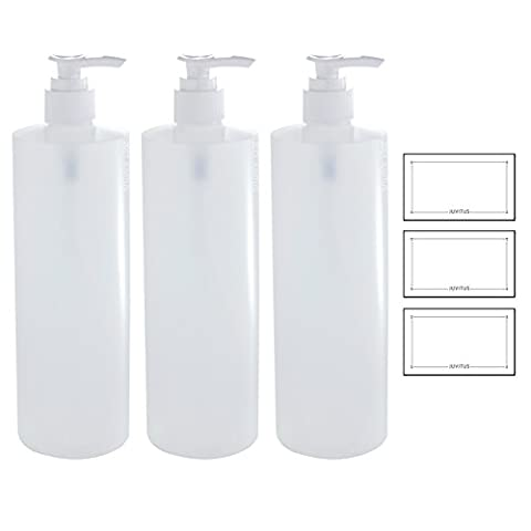 16 oz Clear Natural Refillable Plastic Squeeze Bottle with White Lotion Pump Dispenser - (3 Pack) + (16 Oz Plastic Cylinder Bottles)
