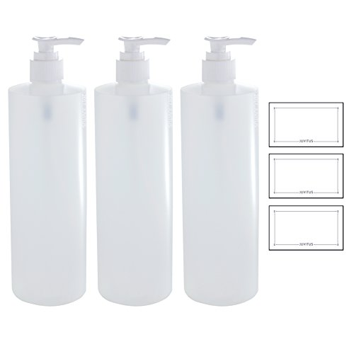 Biodegradable Bottle (16 oz Clear Natural Refillable Plastic Squeeze Bottle with White Lotion Pump Dispenser - (3 Pack) + Labels)