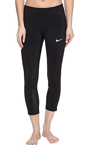 Nike Women's Power Epic Run Cropped Pants Running Tights (Small, Black)