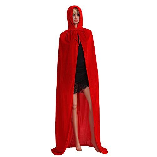 Alvivi Unisex Adult Full Length Hooded Robe Cloak Long Velvet Cape Christmas Halloween Cosplay Costumes Red XL -