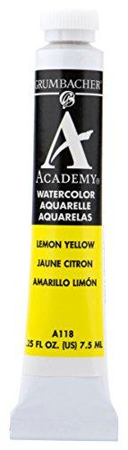 Grumbacher Academy Watercolor Paint, 7.5ml/0.25 Ounce, Lemon Yellow (A118)
