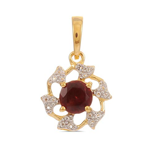 - Gold Plated 925 Sterling Silver Round Cut Red Garnet Fancy Circle Pendant For Women with White Topaz Without Chain