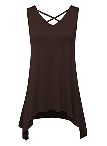 JOELLYUS Womens Plus Size Tank Tops Criss Cross Sleeveless (Criss Cross Sleeveless Top)