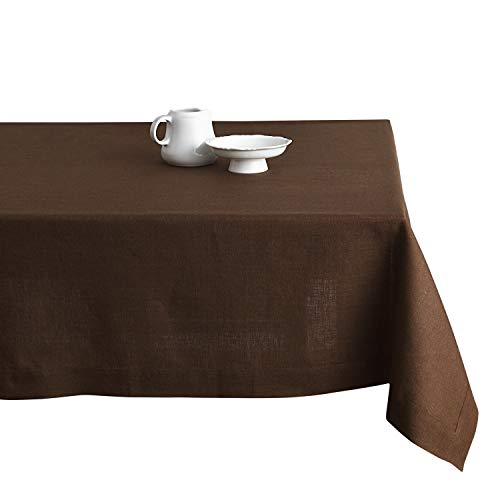 Solino Home Square Linen Tablecloth - 100% European Flax Natural Tablecloth - Athena 60 x 60 Inch Brown by Solino Home