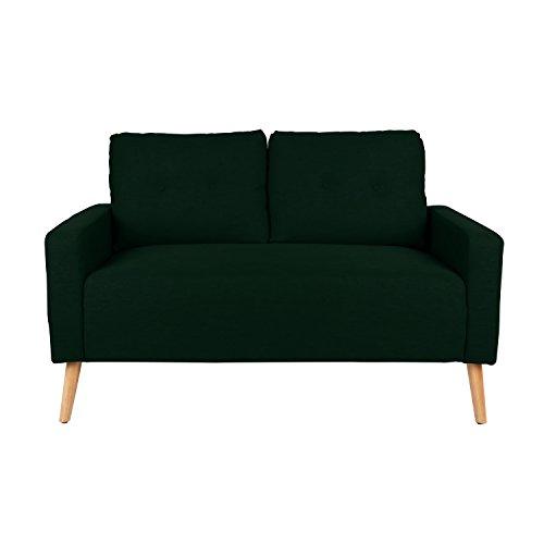 - Mid Century Modern Upholstered Loveseat in Dark Green with Solid Oak Legs