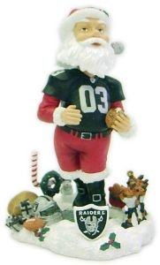 (Forever Collectibles NFL Oakland Raiders Mens Oakland Raiders Santa Claus Bobblehead, Team Colors One Size)