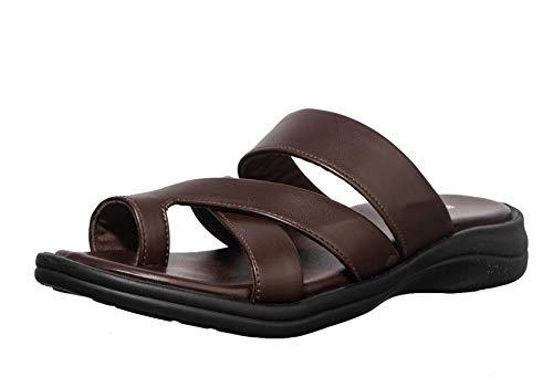 Khadims Men's Brown Casual Slip-On Sandal