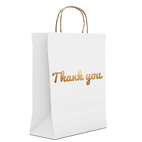 White Thank You Gift Bags - Luxury Pack - Gold Print on Both Sides - Best for Weddings, Boutiques, Hotels, Party Guests & More [25 Pack, Size 10.5