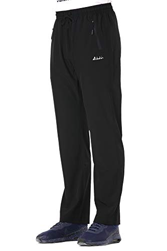 Clothin Men's Elastic-Waist Drawstring Pants for Sport Exercise Travel,Quick-Dry,Stretchy,Black,XL(37-41