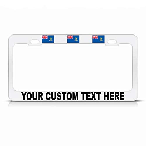 Custom Text Personlized Falkland-Islands Country Flag Steel Metal License Plate Frame Car Auto Tag Holder - White 2 Holes ()