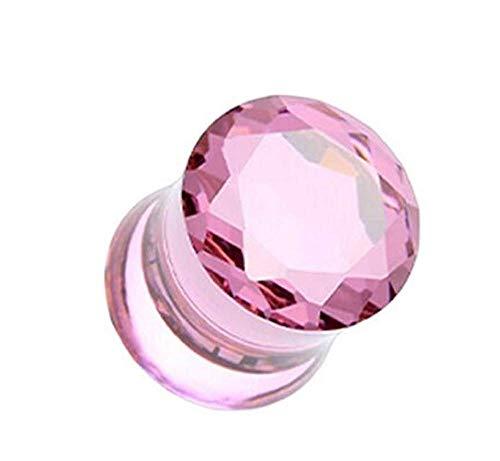 4 gauge pink gem earrings - 9