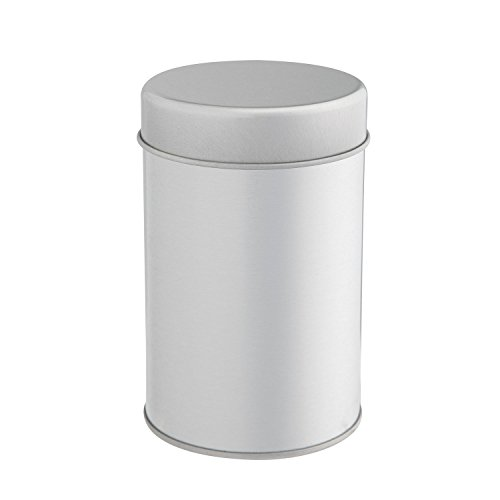 Tea Tin Canister with Airtight Double Lids for Loose Tea - Small Kitchen Canisters for Tea Coffee Sugar Storage, Loose Leaf Tea Tin Containers by SilverOnyx - Tea Canister - 1 pc ()