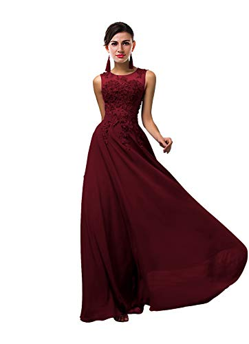 ThaliaDress Women Long Sheer Neck Evening Bridesmaid Dresses Prom Gowns T004LF Burgundy US2