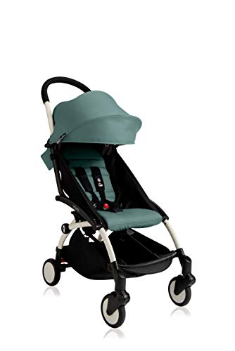 Babyzen Yoyo+ Stroller - White Frame with Aqua Seat and Canopy