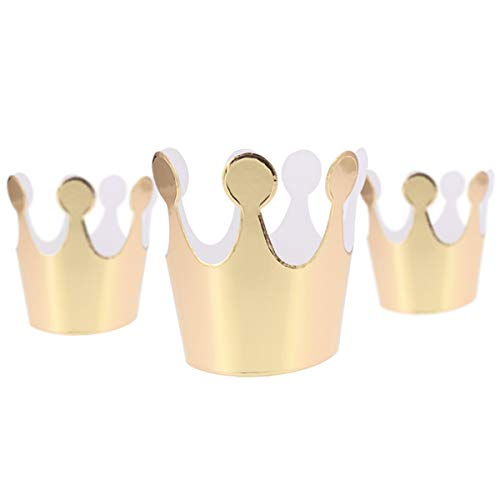 Topoox Gold Crown Hats 18 Pack Birthday Party Hats Mini Paper Crowns Prince Party Hats Great Fun for Kids Party