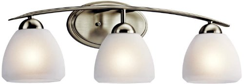 (Kichler Lighting 45119NI Calleigh 3LT Vanity Fixture, Brushed Nickel Finish with Satin Etched Cased Opal Glass)