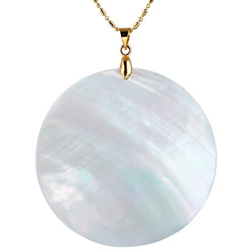 (TUMBEELLUWA White Sea Shell Pendant Neacklce for Women, Round Pendant with 19.5