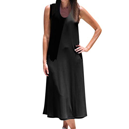 Sunhusing Ladies Summer Solid Color Round Neck Sleeveless Vintage Bohemian Beach Style Holiday Mid-Calf Dress Black