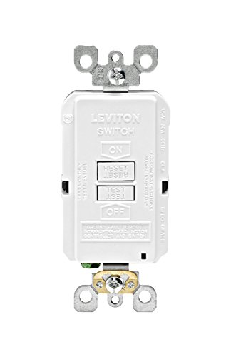 Gfi Blank - Leviton GFRBF-W Self-Test SmartlockPro Slim Blank Face GFCI Receptacle with LED Indicator, 20 Amp, White