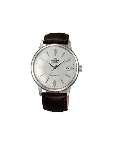 Orient Men's '2nd Gen. Bambino Ver. 1' Japanese Automatic Stainless Steel and Leather Dress Watch, Color:Brown (Model: FAC00005W0)