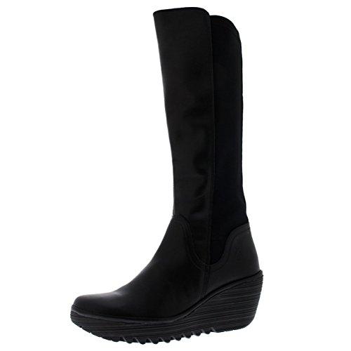 FLY London Womens Yeve Winter Leather Snow Wedge Heel Black Knee Boots - Black - 9