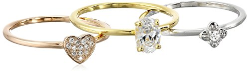 Sterling Silver and Cubic Zirconia Set of 3 Stackable Ring