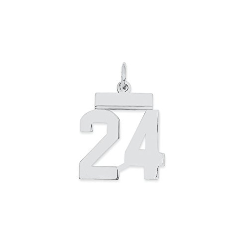 (925 Sterling Silver Small Number 24 Pendant Charm Necklace Sport Fine Jewelry Gifts For Women For Her)