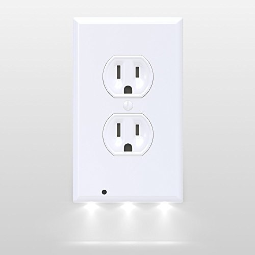 Outlet Wall Plates LED Night Lights- Night Lights Outlet Cover | Energy Efficient Bright LEDs | No Batteries Or Wires | Easy Install And Child Safe | Automatic Lights With Sensor | White Duplex (4) (Light Cover Glass Bathroom)