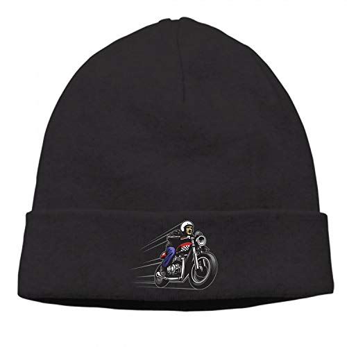 Unisex Thick Oversized Cable Knitted Fleece Lined Man Ride A Motorcycle Beanie Hat with Hair ()