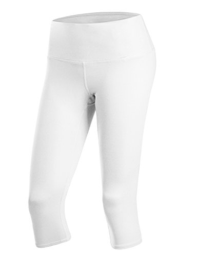 Doublju Womens Active High Waist Tummy Control Workout Capri Yoga Pants with Plus Size White Large