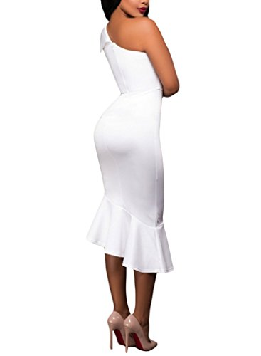 Sidefeel Women Elegant Single Shoulder Ruffle Mermaid Midi Dress X-Large White