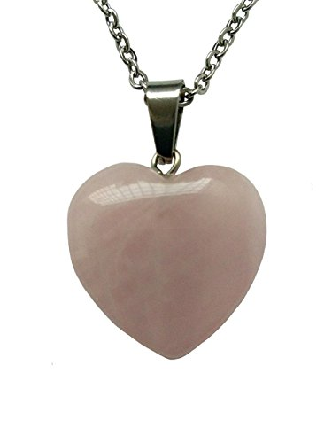 AIMITH Love Pendant Heart Shape Necklace Natural Crystal Gemstone Rock Healing Stone Pattern Jewelry 18
