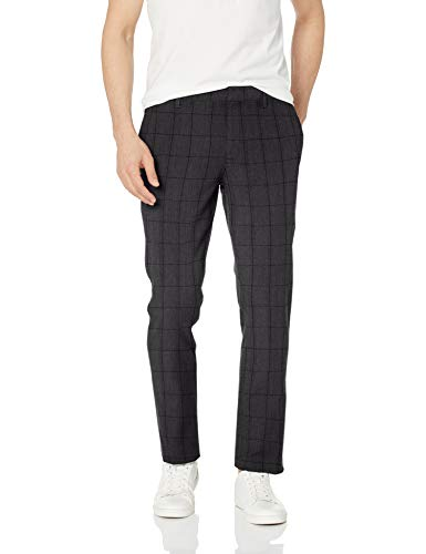 (Goodthreads Men's Slim-Fit Stretch Dress Chino Pant, Black Herringbone Windowpane, 34W x)