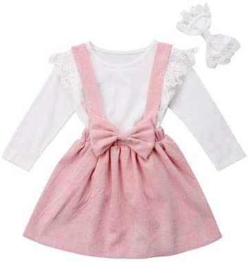 Corduroy Bowknot Suspender Skirt Clothing Set with Bowknot Headband 3Pcs Toddler Baby Girl Outfits Long Sleeve Lace Top