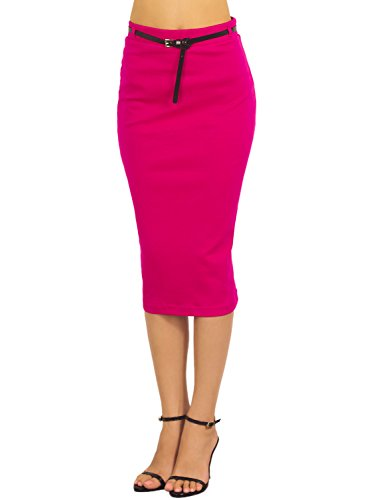 iB-iP Women'S Elastic Bodycon Slim Fit Bandage Soft Midi High Waist Pencil Skirt, Size: M, Hot Pink (Hot Pink Pencil Skirt compare prices)