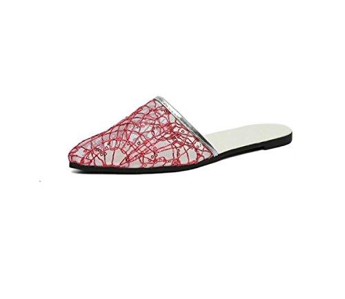 Pantoufles Chaussures Pantoufles Mesh Femmes Casual Rouge D'Intérieur DANDANJIE Dames Plat Mode Pointu Printemps Respirant Chaussures Fil E1YqxfPw