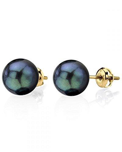 14K Gold Screwback 8.0-8.5mm Black Akoya Cultured Pearl Stud Earrings - AAA Quality by The Pearl Source (Image #9)