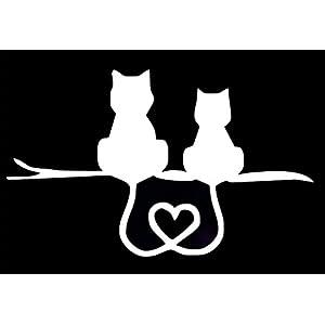 Kitty Cat Heart Tails Decal Vinyl Sticker|Cars Trucks Walls Laptop|WHITE|5.5 X 3.5 In|URI143