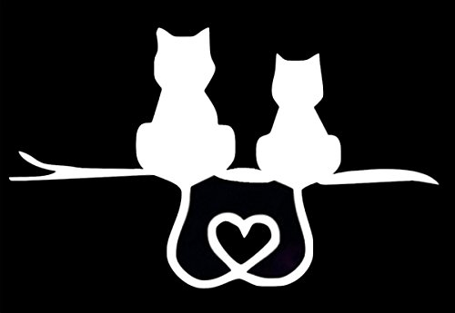 Kitty Cat Heart Tails Decal Vinyl Sticker|Cars Trucks Walls Laptop|WHITE|5.5 X 3.5 In|URI143