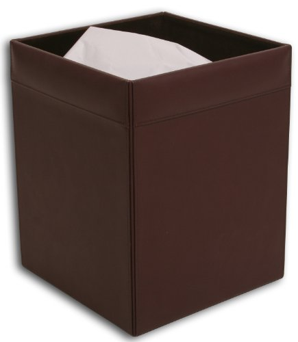 Dacasso Chocolate Brown Leather Waste Basket