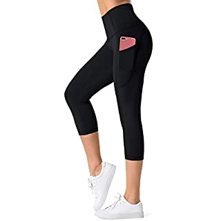 Dragon Fit High Waist Yoga Leggings with 3 Pockets,Tummy Control Workout Running 4 Way Stretch Yoga Pants (X-Large, Capri-Black)